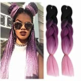 Jumbo Braiding Hair Ombre Colored Three Tone Braids Jumbo Twist Braids Hair Synthetic Extension For DIY Box Braids 6Packs (24 Inch, TBlack/Purple/Pink)