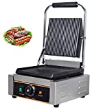 YOOYIST Commercial Electric Full Plates Grooved Contact Grill, Steak Grill Maker, Sandwich Panini Press Griddle Machine, Temp Control 1800W Stainless Steel for Hamburger, Steak