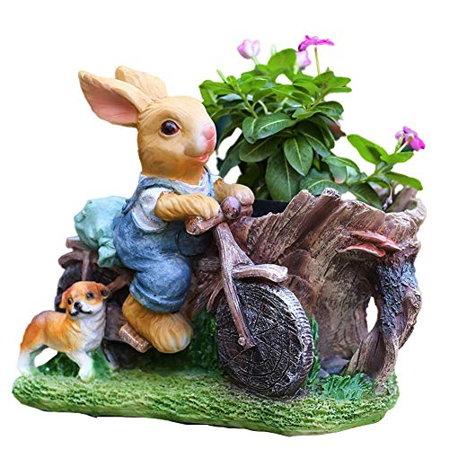 WYJW Garden Statues and Figurines Outdoors, Rabbit Riding A Bike with Puppy Sculptures Sculptures for Living Room, Flower Pot Decorative, Garden Gift Ornaments