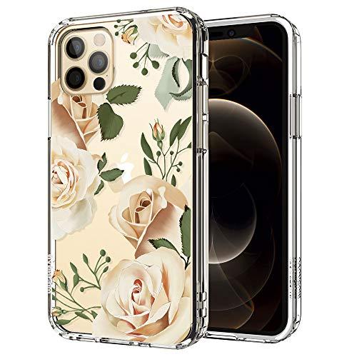 MOSNOVO iPhone 12 Pro Max Hülle, Champagner Rosen Muster TPU Bumper mit Hart Plastik Hülle Durchsichtig Schutzhülle Transparent für iPhone 12 Pro Max 6.7 Zoll