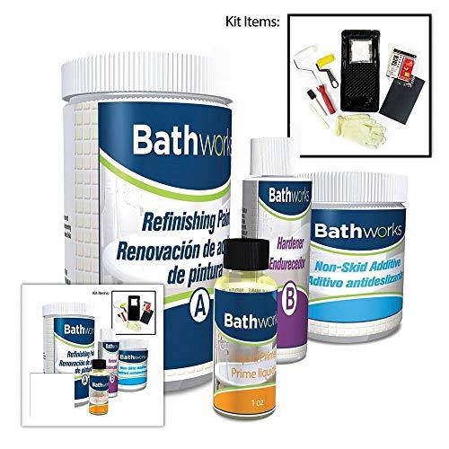 BATHWORKS DIY Combo Kit - WHITE - Bathtub & Wall Refinishing; 42 oz; Non-Slip Protection; Tub; Tile; Shower; Wall Surround; Quick 24 hour dry time; High Gloss Resin Finish