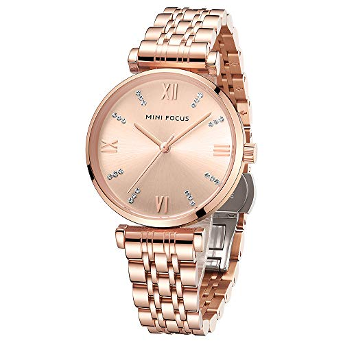 Reloj De Moda para Mujer Correa De Acero Inoxidable Simple Resistente Al Agua Esfera De Diamantes