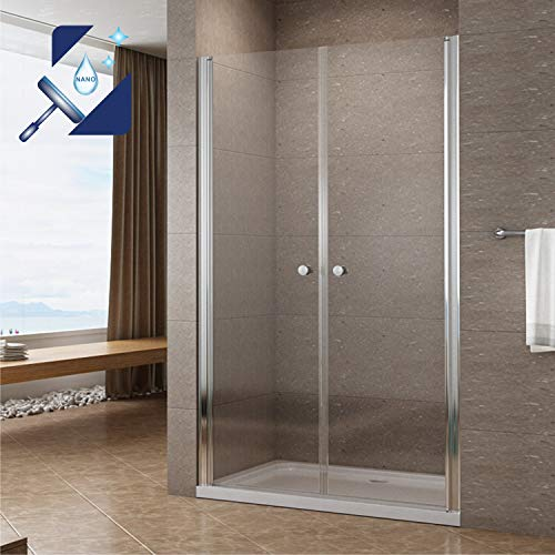 AQUABATOS® 110 cm Duschabtrennung Duschtür Nischentür Pendeltür Duschwand Glas Schwingtür mit Lotus Effekt Nano Beschichtung Höhe 195 cm klar