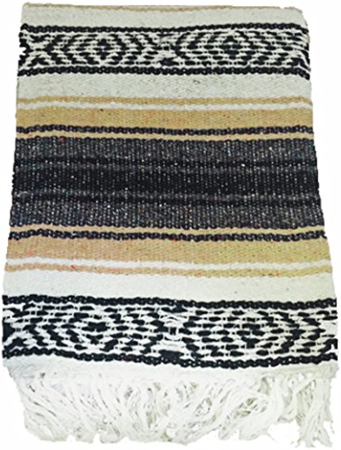 (Sand) - El Molcajete Brand Traditional Mexican Blanket Serape For Yoga, Beach, Picnic, Stadium or Dogs Bed