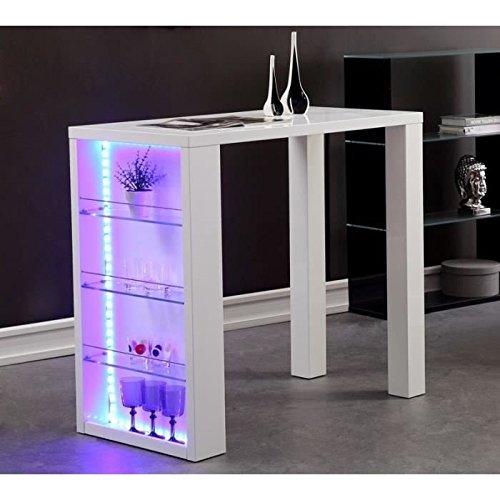 FLASH Weiß lackierter Stehtisch + mehrfarbige LED