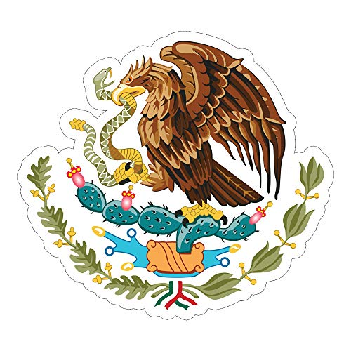 Mexican Flag Coat of Arms Eagle with Snake Hawk Bird Sticker 3 Inch Decal