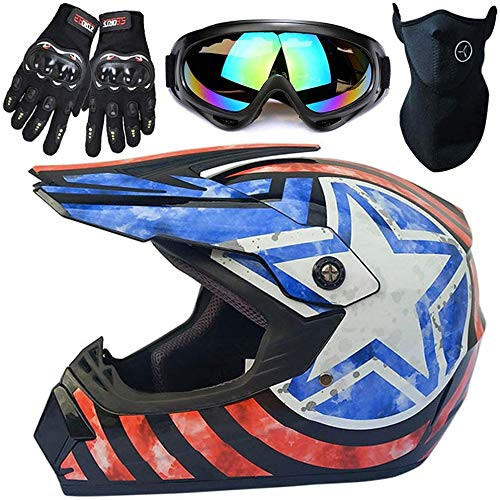 SVIVE Casco De Motocross, Casco De Motocicleta De Cara Completa Dirt Bike MX ATV Scooter Motorbike Casco con Gafas Gloves Máscara Dot/ECE Estándar,XL