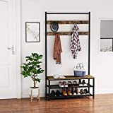 Tribesigns Coat Rack Shoe Bench Hall Tree Entryway Storage Shelf Accent Furniture with Metal Frame Industrial Hallway Coat Rack Shoe Bench Easy Assembly (39.37'x13.77'x72.44')