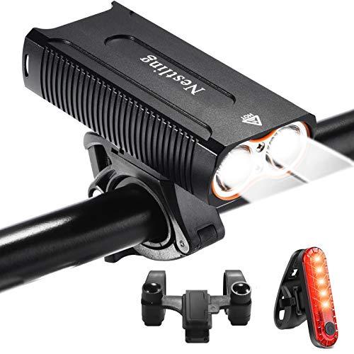 Nestling Luci per Bicicletta, Impermeabili IP65 Luci Bicicletta LED Ricaricabili USB, 2400 lumens 4 modalit, Luce Bici Anteriore e Posteriore Super Luminoso Luce Bici LED per Bici Strada e Montagna