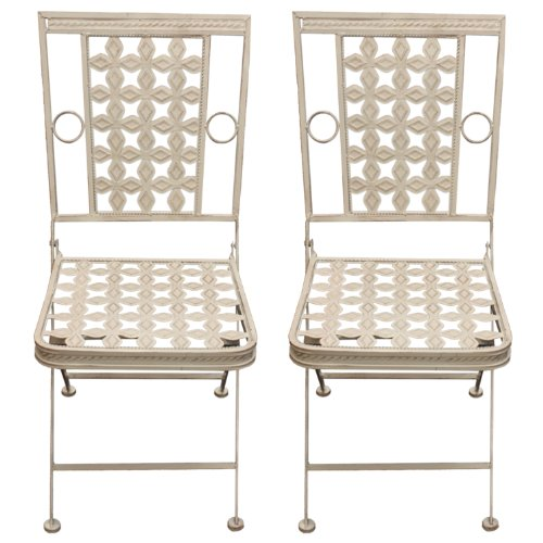 Woodside 2 x Square Folding Metal Garden Patio Dining Chairs Outdoor Furniture