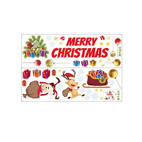 Kecar Christmas Santa Animal Window Stickers Winter Decorations Party Supplies,  Wall Sticker, for Xmas Day(Red)