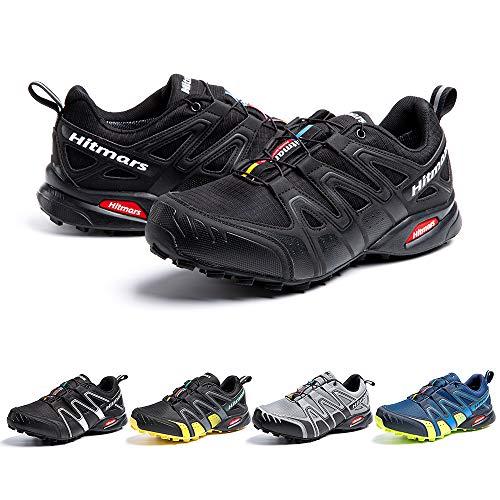 Zapatillas De Trail Running Impermeables para Hombre Mujer Zapatillas Trekking Zapatos Senderismo Deporte Negro Talla43