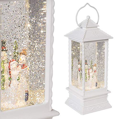 The Christmas Workshop Schneemann-Laterne, weiß, 27.5cm High x 10.5cm Wide x 10.5cm Deep