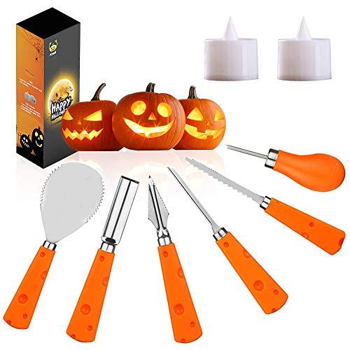 Voneta Halloween-Kürbis-Schnitzwerkzeuge, Kürbis-Schnitzset, Edelstahl, professionelles Kürbis-Schnitzwerkzeug für Jack-O-Lanterns Halloween-Dekor