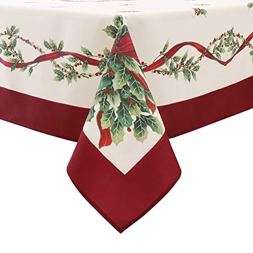 Flyspeed Christmas Floral Print Tablecloth Waterproof Rectangle Holiday Table Cloth for Dinning Room (60 x 104 Inch Christmas Tree Leaves