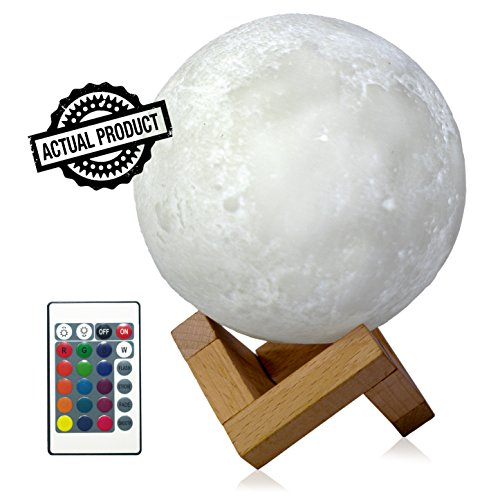 Luna Lamps Led Night Light for kids 5.9 Inch, 16 Color Remote 3D Moon Lamp with Stand, USB Charger, Longer Working Time, Dimmable Touch, Nursery Decor, Perfect for Birthdays Valentines or any Occasion