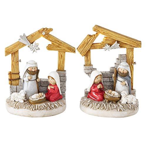 RiloStore 2 STK Tischkrippe LED Weihnachten Krippe Natur braun grau nr2073 Deko Figuren Christus Jesus Weihnachtskrippe Kunstharz Weihnachten Geschenk Tischdeko