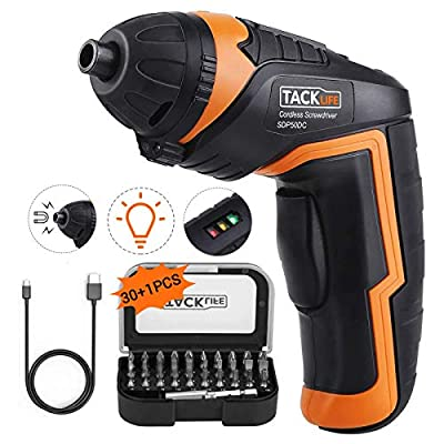 Cordless Screwdriver, Tacklife SDP50DC Electric Rechargeable Screwdriver 3.6V 2000mAh Li-ion with Battery Indicator with 31 Free Accessories for Home DIY, Newbies and Experienced from TACKLIFE-US