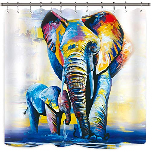 Oil Painting Elephants Shower Curtain Colorful Artwork African Family Baby Animal Abstract Vintage Bathroom Home Decor Fabric Panel Waterproof Polyester 72x72 Inch with 12-Pack Plastic Shower Hooks