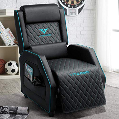 VIT Gaming Recliner Chair Racing Style Single PU Leather Sofa Modern Living Room Recliners Ergonomic Comfortable Home Theater Seating (Teal Blue)