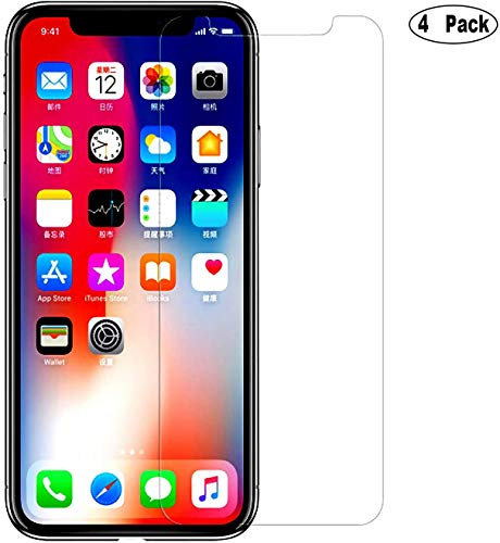 [4-Pack] iEugen Compatible with Apple iPhone 11 Pro, iPhone Xs & iPhone X 5.8 inch Glass Screen Protector,0.25mm Tempered Glass Screen Protector with Advanced Clarity Work with Most Case