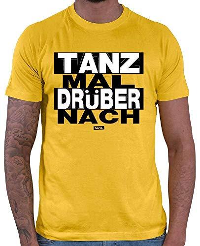 HARIZ Herren T-Shirt Tanz Mal Drüber Nach Sprüche Schwarz Weiß Plus Geschenkkarten Gold Gelb 3XL