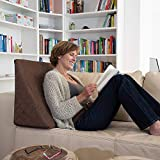 La Almohada Tipo Cuña increíble - para Su Sala De Estar o Su Recamara, Almohada para Leer con Un Sentado Relajado Diseño De Moda (Marrón)