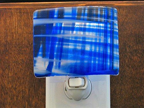 Cobalt Blue Night Light, Fused Glass Blue Night Light, Blue and White Nightlight,Child's Night Light, Nightlight, Nightlite