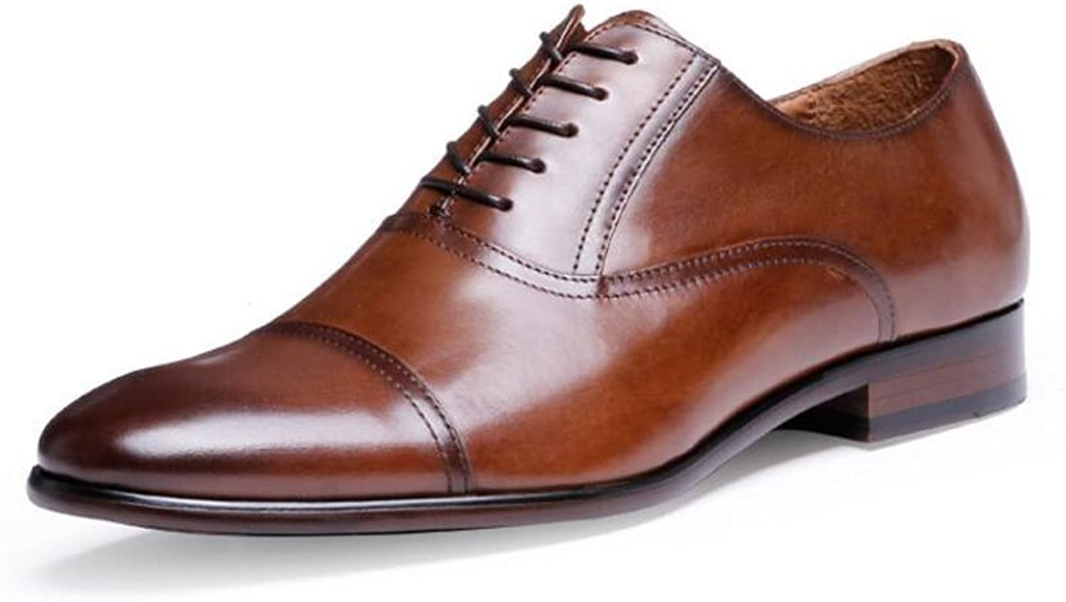 SXZHSM Men's Casual Pointed Oxford Lace Business shoes Men's Fashion Leather Formal shoes Large Size 39-47 Yards Men's Leather Boots (color   Brown, Size   44 EU)