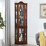 CHADIOR Corner Curio Display Cabinet with Tempered Glass Doors Adjustable Shelves and Light System, 5-Tier, Walnut