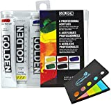 Golden Artist Color Heavy Body Acrylic Paint Introductory Set #074, Set of 6 Colors with Lumintrail Sticky Notes