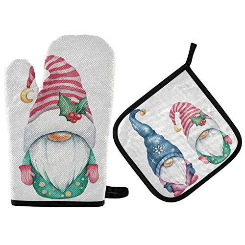QUGRL Cute Christmas Gnomes Oven Mitts and Pot Holders Sets Heat Resistant Hot Pads Watercolor Pattern Cooking Gloves Handling Kitchen Cookware Bakeware BBQ
