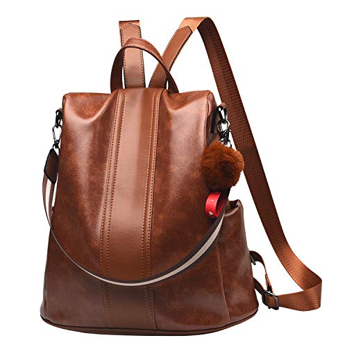 Women Backpack Purse PU Leather Anti-theft Backpack Casual Satchel Shoulder Bag for Girls(Tan)