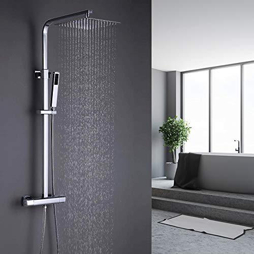 ONECE Duschsystem Thermostat Regendusche mit Edelstahl Kopfbrause Duschgarnitur Quadratisch Duschsäule Duschset Duscharmatur mit Messing Handbrause, Chrom