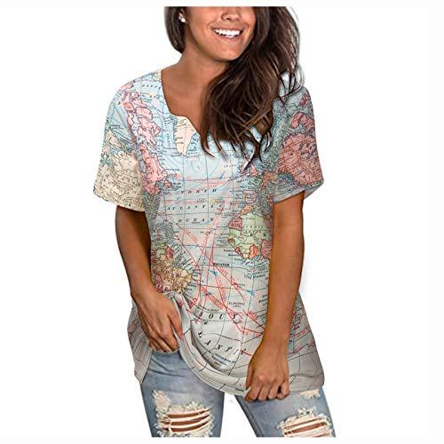 YANFANG Camiseta Holgada De Manga Corta con Estampado Mapa Bohemio Informal Verano para Mujer,Tops Sueltos Larga Casuales,Multicolor