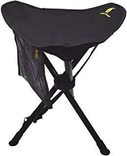 GEERTOP Portable Folding Stool Outdoor Tripod Slacker Chair Lightweight Compact Heavy Duty Tri-Leg with Mesh Pocket for Camping Backpacking Hiking Mountaineering Travel