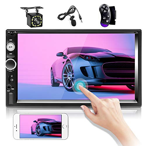 Double Din Stereo 7 inch Touch Screen Car Radio Bluetooth Audio Player FM Radio with Dual USB/Aux-in SD Ports Car Video Player Support Mirror Link, SWC, Backup Camera + External Microphone