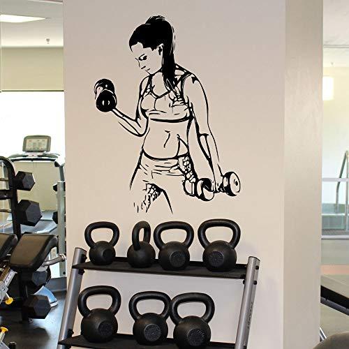 Calcomanías de fitness para niña,entrenamiento deportivo,culturismo,pegatinas de vinilo,sala de estar,gimnasio,decoración de interiores,pegatinas de fondo A5 57x77cm