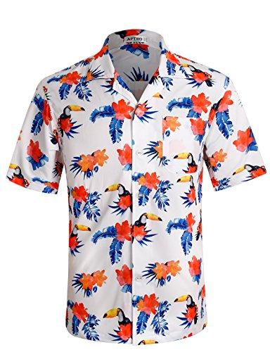 APTRO Herren Hemd Kurzarm Shirt Sommer Hawaiihemd für Strand Freizeit ST19, Weiß, XXL