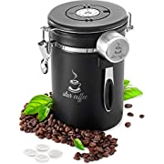 Star Coffee Canister Stainless Steel Airtight Food Storage Container with Date Tracker CO2 Valve eBook and Scoop - Coffee Jar for Beans, Grounds, Tea, Sugar, Flour, Cereal, 22OZ, Black