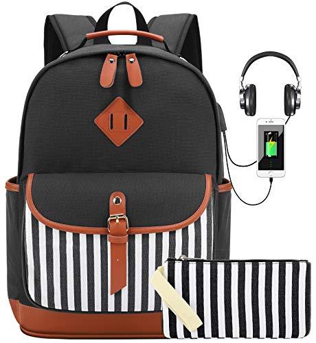 Laptop Rucksack für 15.6 Zoll ComputerSchulrucksack mit USB Ladeanschluss Moderne Canvas Rucksack für Mädchen, Teenager für Schule (Schwarz3)