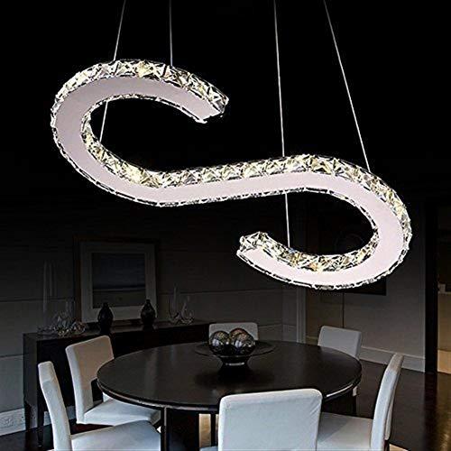 YUQIYU Luces pendientes, S-Type de lujo moderno de la lámpara LED de cristal, hogar moderno lámpara del techo, iluminación de la lámpara, la luz blanca (Color : Yellow Light)