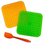 Dog Lick pad Suction Dog Slow Feeders mat Pet Slow Treat Dispensing Mat for Boredom and Anxiety Reduction with a Food Shovel