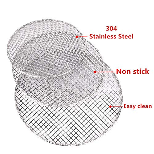 Yamybox 304 Stainless Steel steam net Camping Camping Outdoor net Round Barbecue net Grill mesh Rack Rack Grid Round Furnace,42.5cm