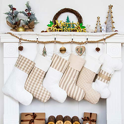 LUBOT Set of 5 Christmas Stockings(20inch) Plaid/Rustic/Farmhouse/Country Fireplace Hanging Canvas Handmade Xmas Stockings Decorations for Family Holiday Season Decor Fresh