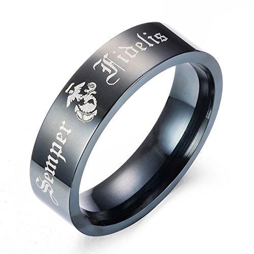 eejart 8mm Black Stainless Steel Semper Fidelis Ring USMC Marine Eagle Globe & Anchor Image Jewelry Wedding Band for Men 7-13