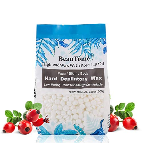 Hard Wax Beads for Painless Hair Removal, Sensitive Skin Areas Specific, 98% removal rate, Pure Natural, Non-Strip, No Skin Burn, Allergen free, For Face, Bikini area, Brazilian, Eyebrow (300g)