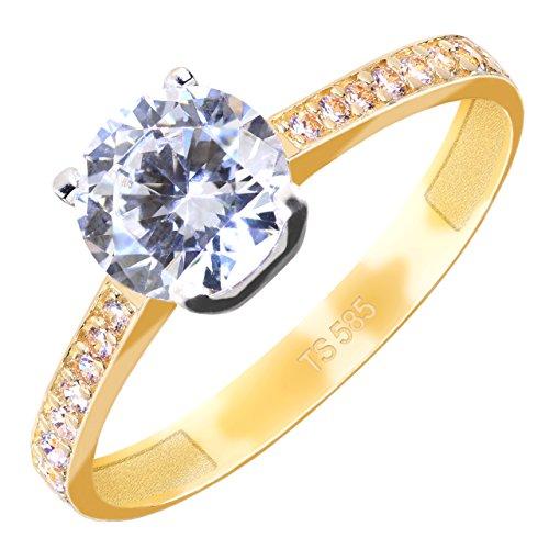 Gioro Diana solitaire verlovingsring, 585 goud, met Swarovski-kristallen