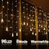 LOPSNNA Cortina de Luces, 8 Modos, 96 LEDS 3.5M LED Guirnaldas luminosas, Cadena De Luces, Perfecto para Decoración de Navidad, Festival,Fiestas, Casa,Jardín,Boda