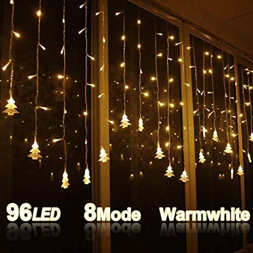 LOPSNNA Luce Natalizia,Catena Luminosa, Luci Cascata, Strisce LED, 96 Leds Luci 3.5 m Luci Stringa 8 Modalità Impermeabili IP44, per finestra, porta, patio, giardino, feste, Natale (Bianco Caldo)